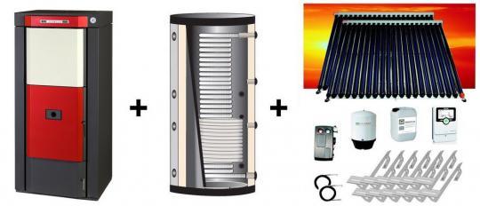 Pelletkessel Classic P 16,5 kW + Hygiene-Pufferspeicher 800 L + Solaranlage 10,16 m² Zeus cpc Vakuumröhren