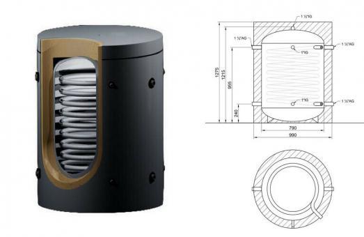 Solarspeicher 500 Liter mit 2 Edelstahl-Wärmetauschern