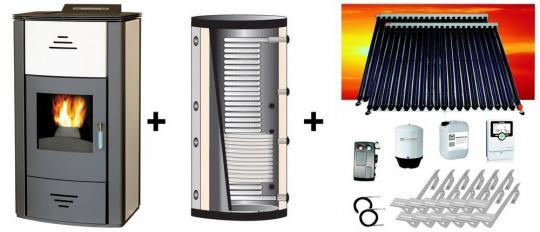 Vittoria PBS champagner 16,0 kW + Hygiene-Pufferspeicher 800 L + Solaranlage 10,16 m² Zeus cpc Vakuumröhren