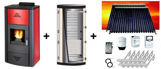 Vittoria PBS bordeaux-rot 16,0 kW + Hygiene-Pufferspeicher 800 L + Solaranlage 10,16 m² Zeus cpc Vakuumröhren