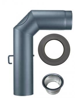 Ofenrohr-Set 130 mm Winkelbogen mit Doppelwandfutter Wandrosette Reinigung
